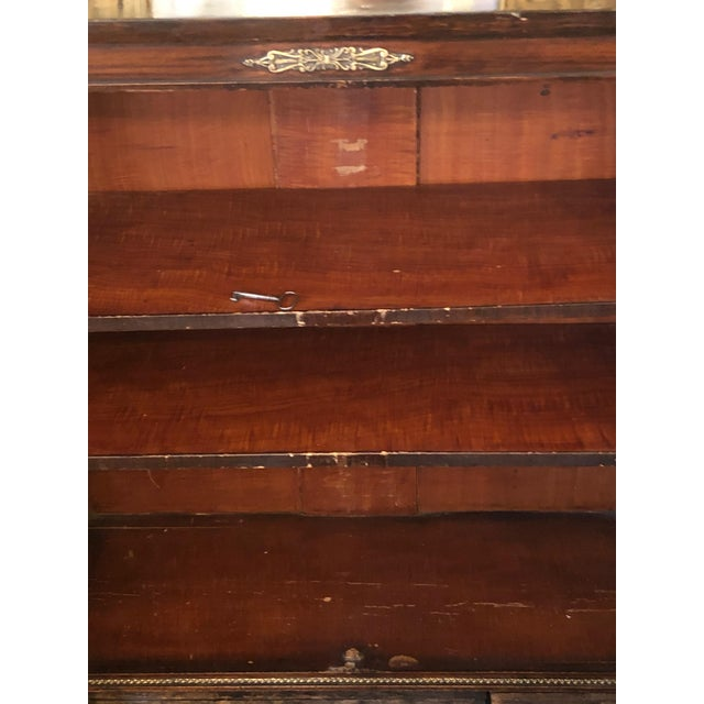 19th Century Antique Regency Rosewood Grain Painted Bookcase Cabinet For Sale - Image 11 of 12