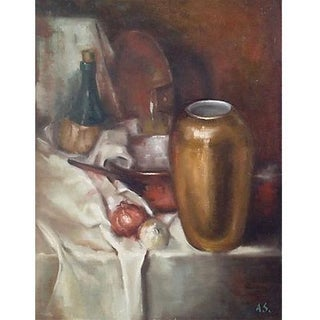 Still Life Kitchen Oil Painting Food Wine by Alfred Simonpietri