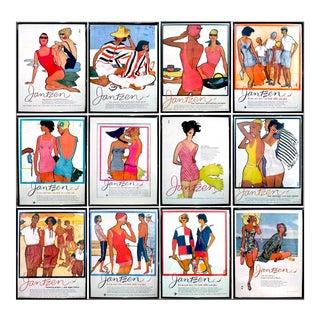 "Rene Gruau 1950's ""Jantzen"" Advertisements - Set of 12"