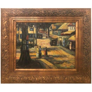 Oil on Canvas Impressionistic Street Scene in a Gilt Frame Signed Monica For Sale