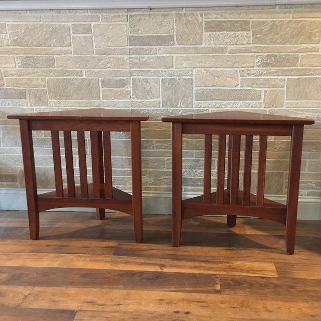 Wood Late 20th Century Ethan Allen Solid Cherry Triangle Corner Side Table For Sale - Image 7 of 13