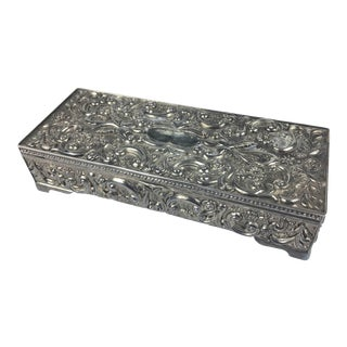 Vintage Circa 1992 Godinger Silver Lidded Jewelry Box For Sale