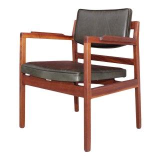 Jens Risom Sculptural Walnut Desk Chair For Sale