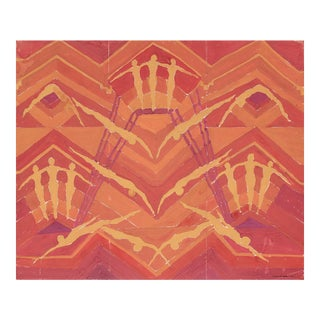 Abstract With Swimmers in Warm Tones, Gouache Painting, Circa 1950s For Sale