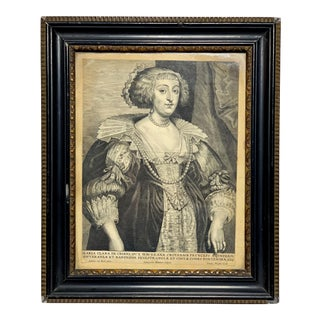 17th Century Antique Maria Clara CroŔ Marquess Van Havré Engraving Print For Sale
