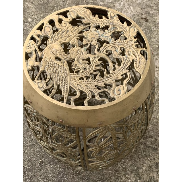 Vintage Brass Faux Bamboo and Fretwork Design Garden Stool For Sale - Image 11 of 13