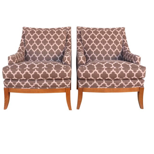 Kravet Furniture Upholstered Lounge Chairs With Wood Frame - A Pair - Image 1 of 7
