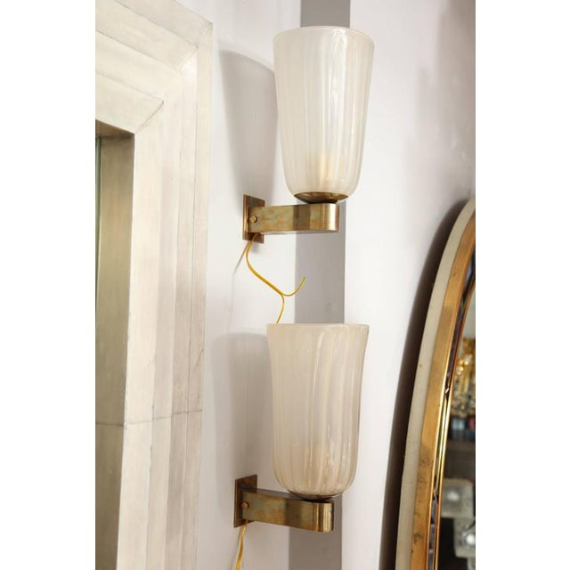 Gold Pair of Murano Glass and Brass Wall Sconces For Sale - Image 8 of 8