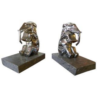 Chrome-Plated Elephants Bookends French Art Deco For Sale