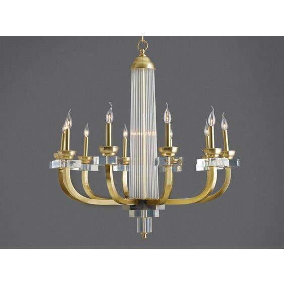 Metal Modern History 10-Light Warhol Lucite and Brass Chandelier For Sale - Image 7 of 8