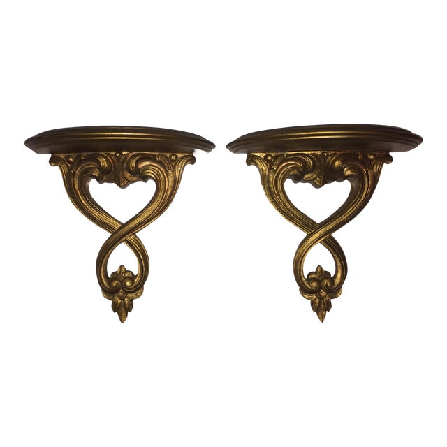 Italian Syroco Wood Gold Shelves - A Pair - Image 1 of 6
