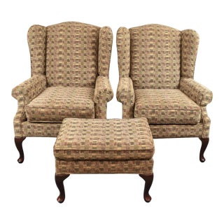 Rowe Furniture Queen Anne Style Two Wing Back Chairs & Ottoman For Sale