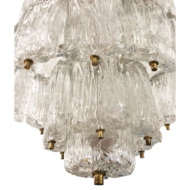 1950s Barovier and Toso Textured Glass Chandelier, Italy, 1950's For Sale - Image 5 of 8