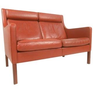 Mid-Century Modern Borge Mogensen Leather Loveseat Sofa For Sale