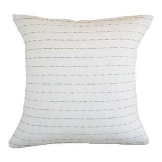 "Almond Striped Cotton Pillow Cover - 20""x20"" For Sale"
