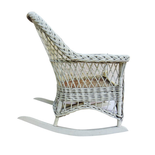 White Wicker Rocker - Image 4 of 6