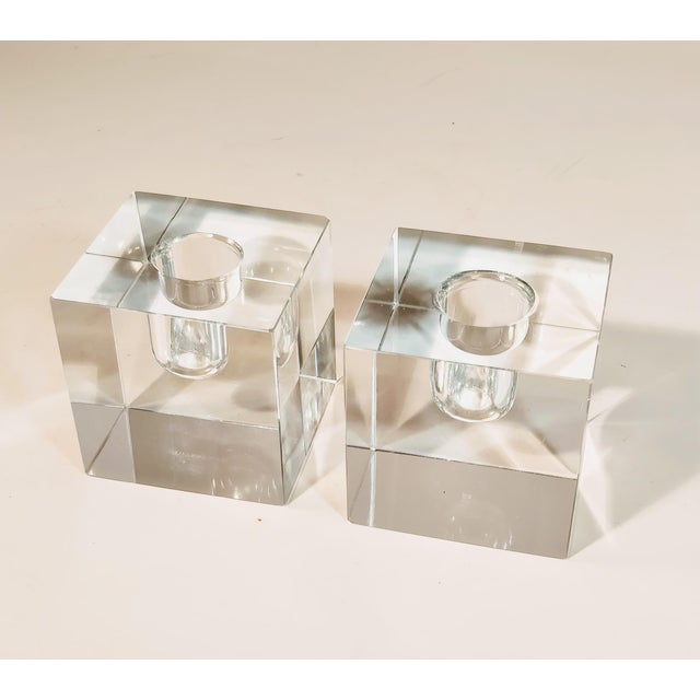 Contemporary Vintage Tiffany & Co Crystal Candle Holders - a Pair For Sale - Image 3 of 12