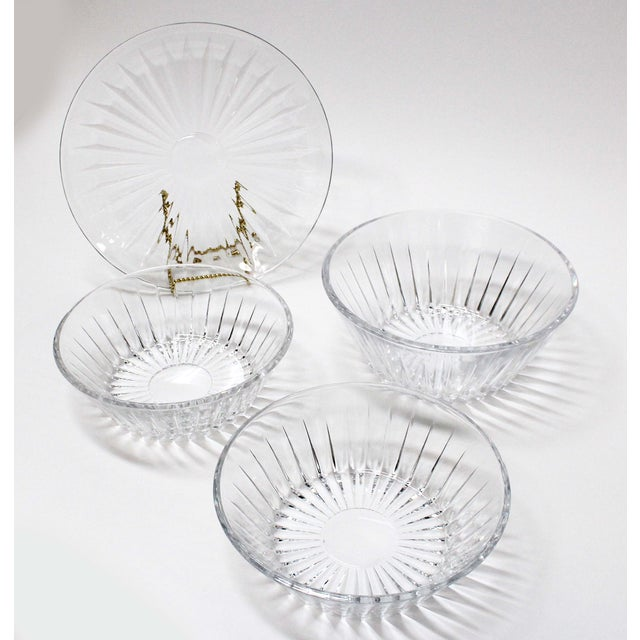 Beautiful Crystal Val St Lambert Bowl & Plate Set. Set includes 1 cake plate and 3 round bowls. All have the matching...