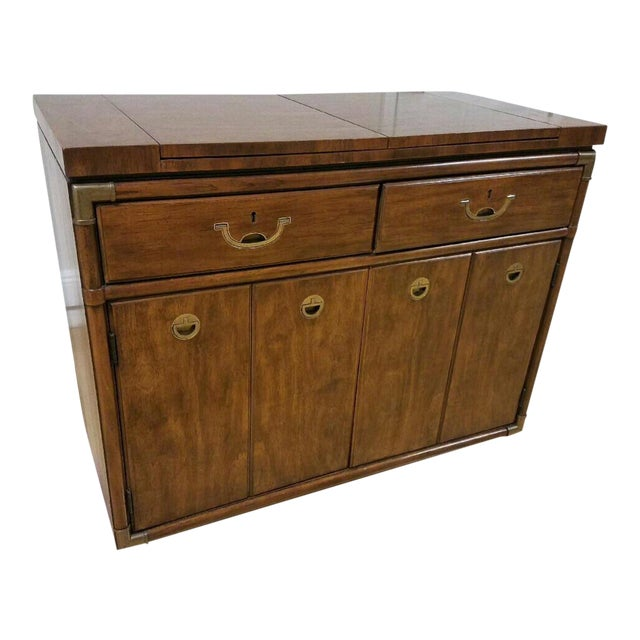 Drexel Heritage Campaign Style Bar / Buffet Server on Rollers For Sale