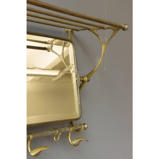 Brass Coat Rack With Mirror and Hooks - Image 6 of 9