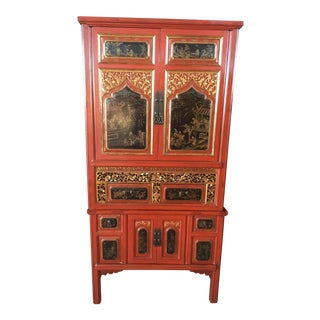 Antique Carved Asian Red Lacquer Cabinet