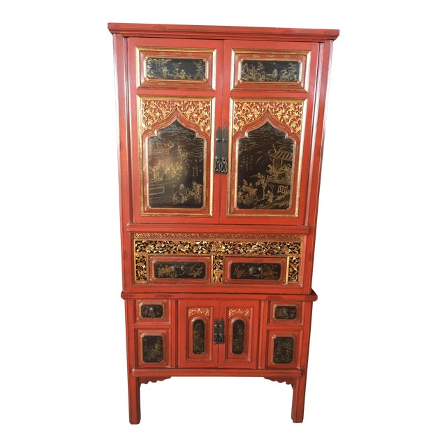 Antique Carved Asian Red Lacquer Cabinet For Sale