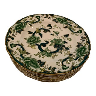 Mason's Ironstone Mandalay Chartreuse Dinner Plates - Set of 7 For Sale