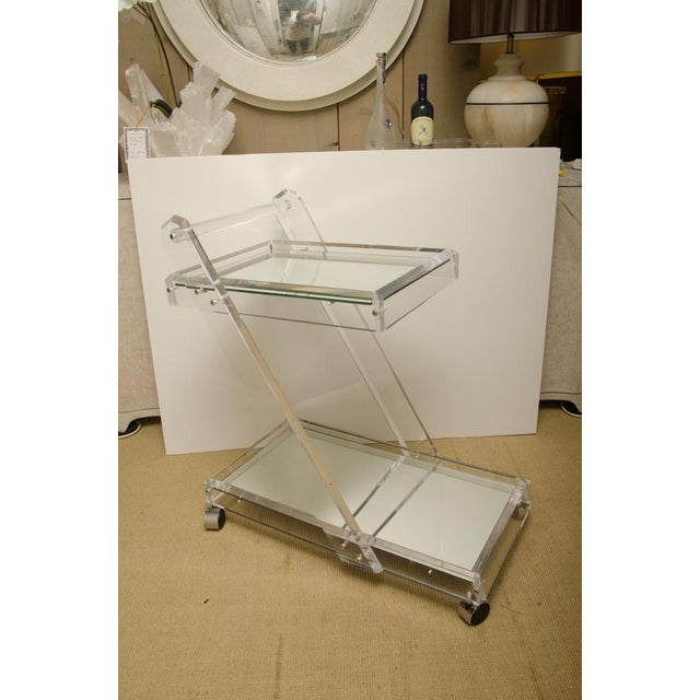Glass Mid-Century Lucite Tea Cart with Two Mirrored Shelves For Sale - Image 7 of 8