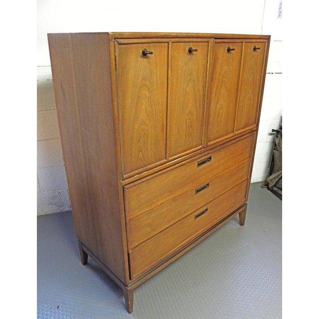 1960s Vintage Stanley Walnut High Boy Dresser Chairish