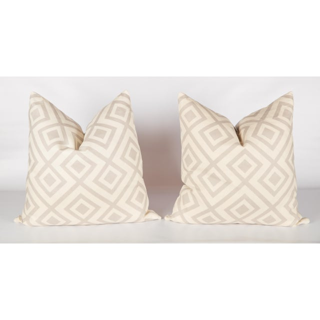 Light Gray Linen David Hicks Fiorentina Pillows - a Pair For Sale - Image 4 of 4