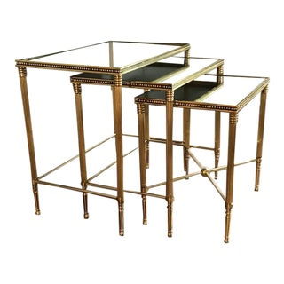 1960s Vintage Maison Jansen Style Nesting Tables- Set of 3 For Sale