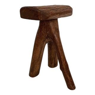 Vintage Mini Three Legged Elm Wood Stool For Sale