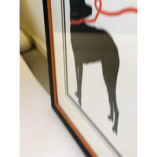 Orange Stylized Artwork of a Dog on Orange Leash For Sale - Image 8 of 12