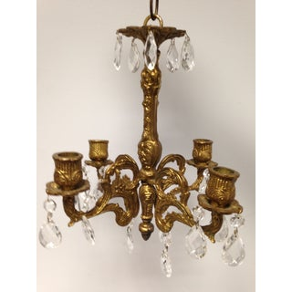 Early 1900's Bronze Gilt Small 4 Arm Crystal Chandelier Preview