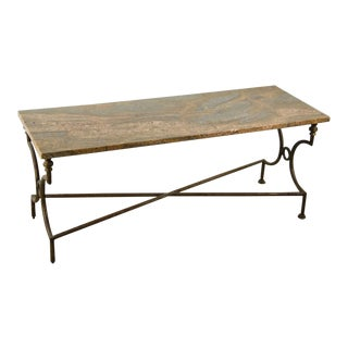 Campaign Style Marble Top Coffee Table For Sale