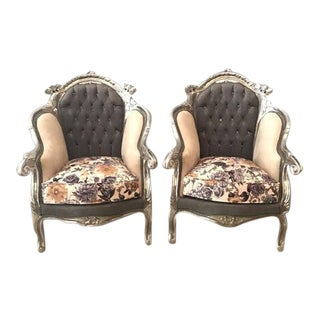 Late 19th Century Vintage Floral Silver Leaf Italian Rococo Armchairs - A Pair For Sale