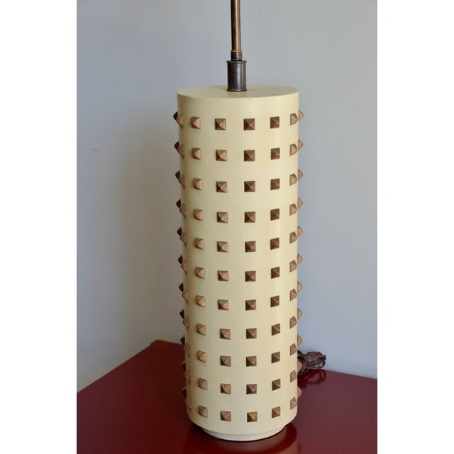 Large Studded Cylinder Table Lamp For Sale - Image 4 of 7