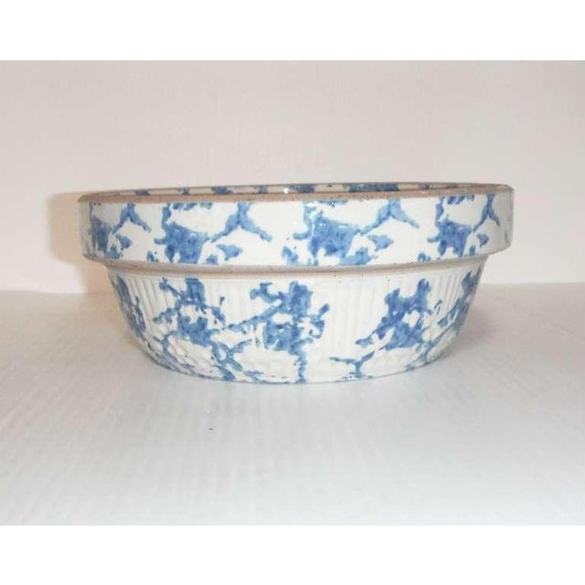 Primitive 19th Century Blue and White Sponge Ware Pottery Bowl For Sale - Image 3 of 7