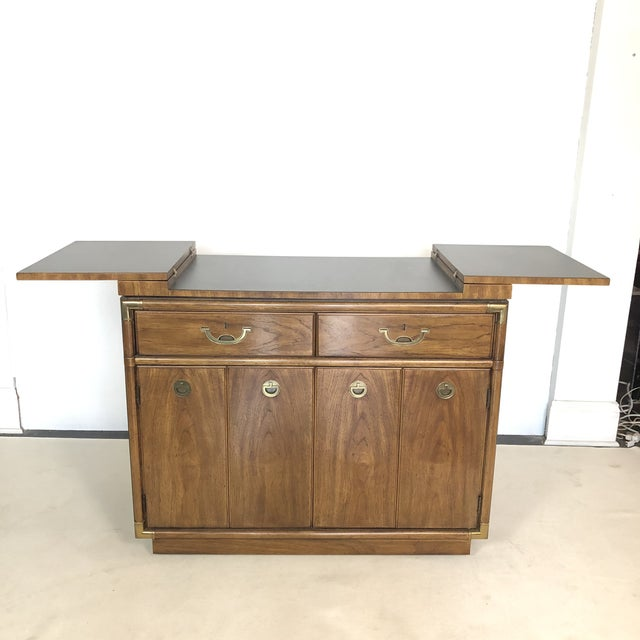Wonderful Campaign Style Bar / Server on castors for ease of mobility. Lovely Solid Brass pulls with drawers and...