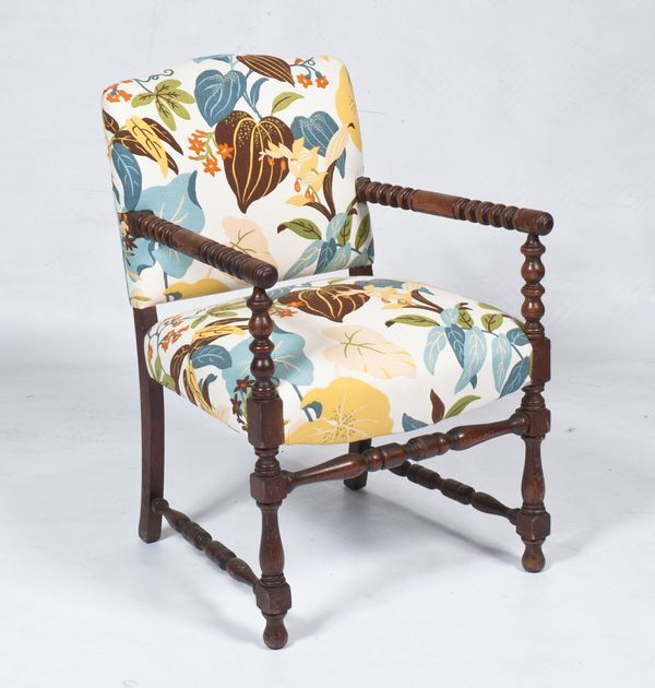 Floral Spindle Leg Chair For Sale. Just Reduced! This Lovely Chair Has A  Turned Wood Frame And New Upholstery In A