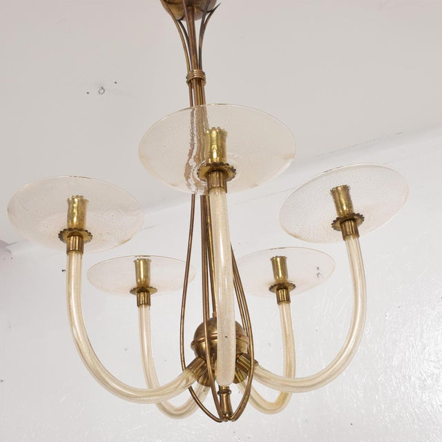Mid Century Sculptural Modern Italian Murano Chandelier Five Arms For Sale - Image 11 of 11