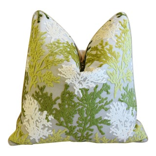 """Nautical Green & White Coral Cut Velvet Feather/Down Pillow 24"""" Square For Sale"""