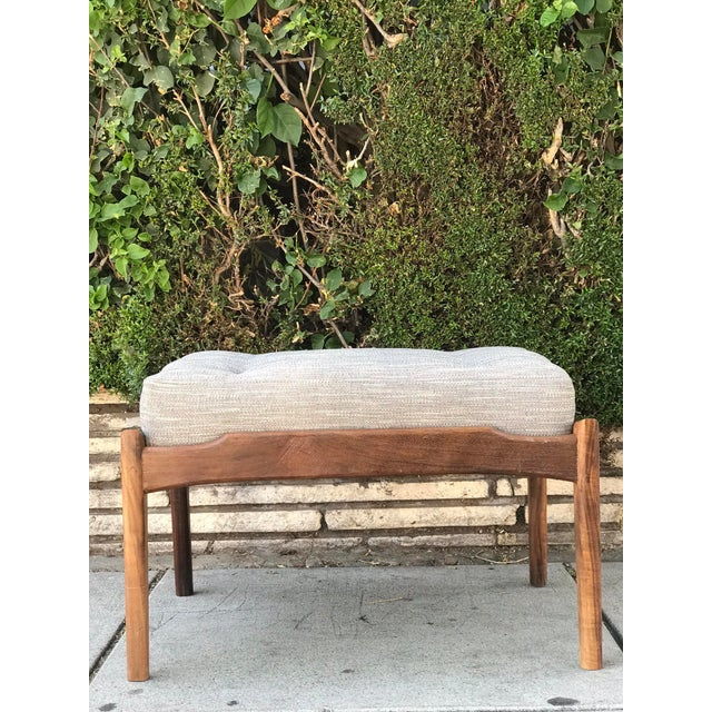 Wood Mid Century Modern Lounge Chair and Ottoman- Customizable For Sale - Image 7 of 13