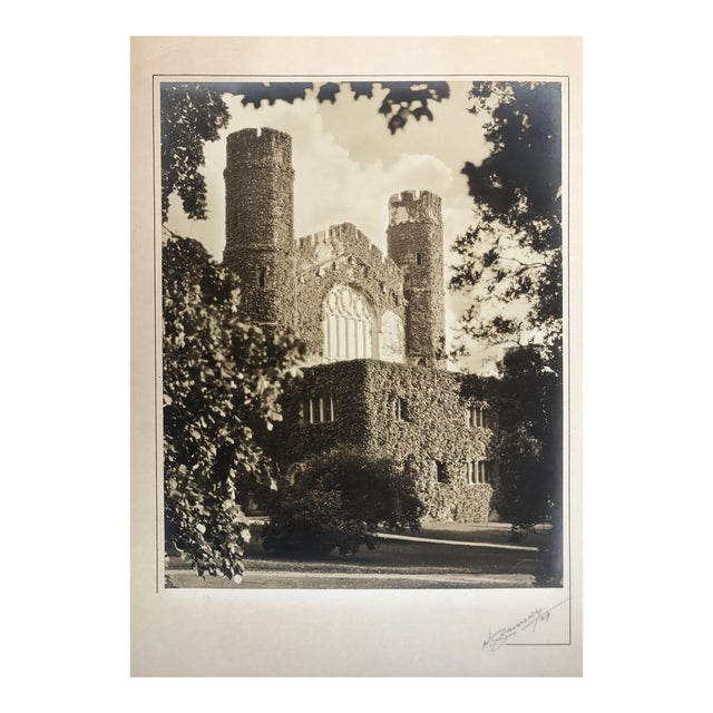 Silverprint Photograph of Gothic English Building w/Ivy 1929 For Sale