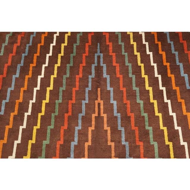 Art Deco Aztec Design Geometrical Wool Rug, Circa 1940s For Sale - Image 3 of 4
