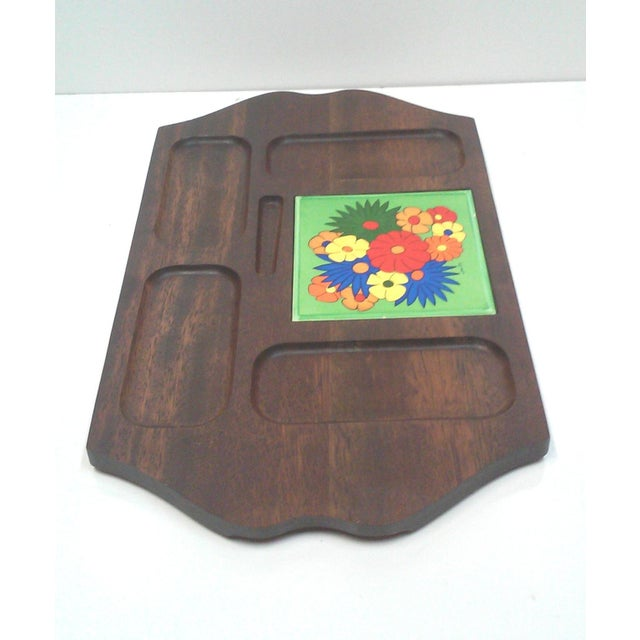 Mid Century Carved Hardwood Tile Tray For Sale - Image 7 of 9