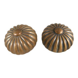 Antique Art Deco Sunburst Door Knobs - a Pair