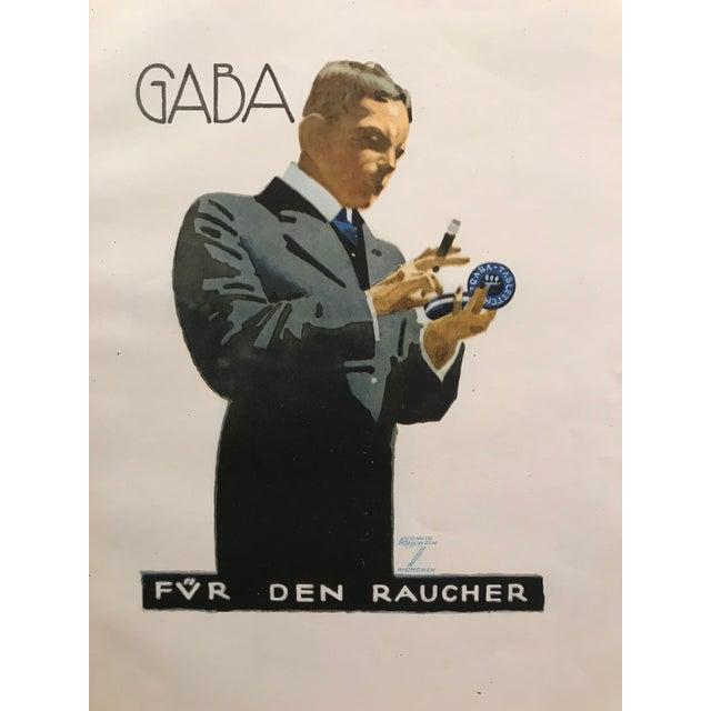 Art Deco Original 1926 German Art Deco Tobacco Print, Gaba For Sale - Image 3 of 6
