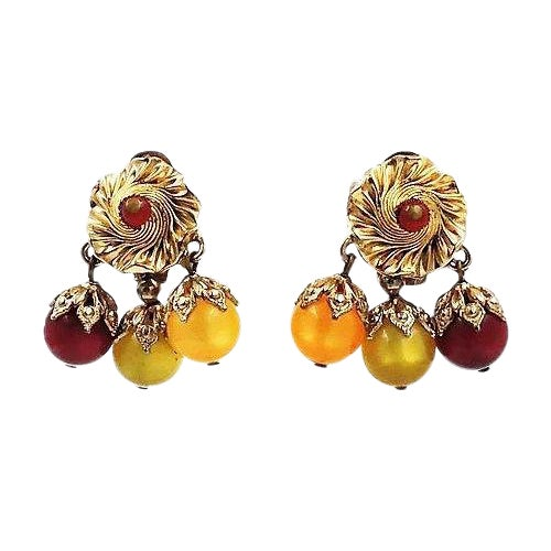 Napier Red, Green & Yellow Moonglow Drops Earrings For Sale