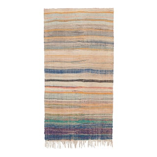 Mid 20th Century Moroccan Rag Rug- 4′10″ × 9′7″ For Sale